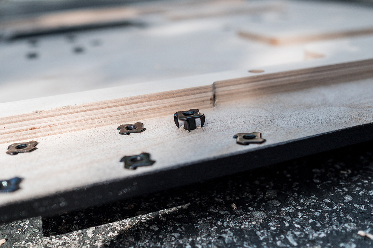 Drill holes and install nutserts